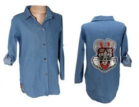 Koszula a'la jeans cekiny  króliczek
